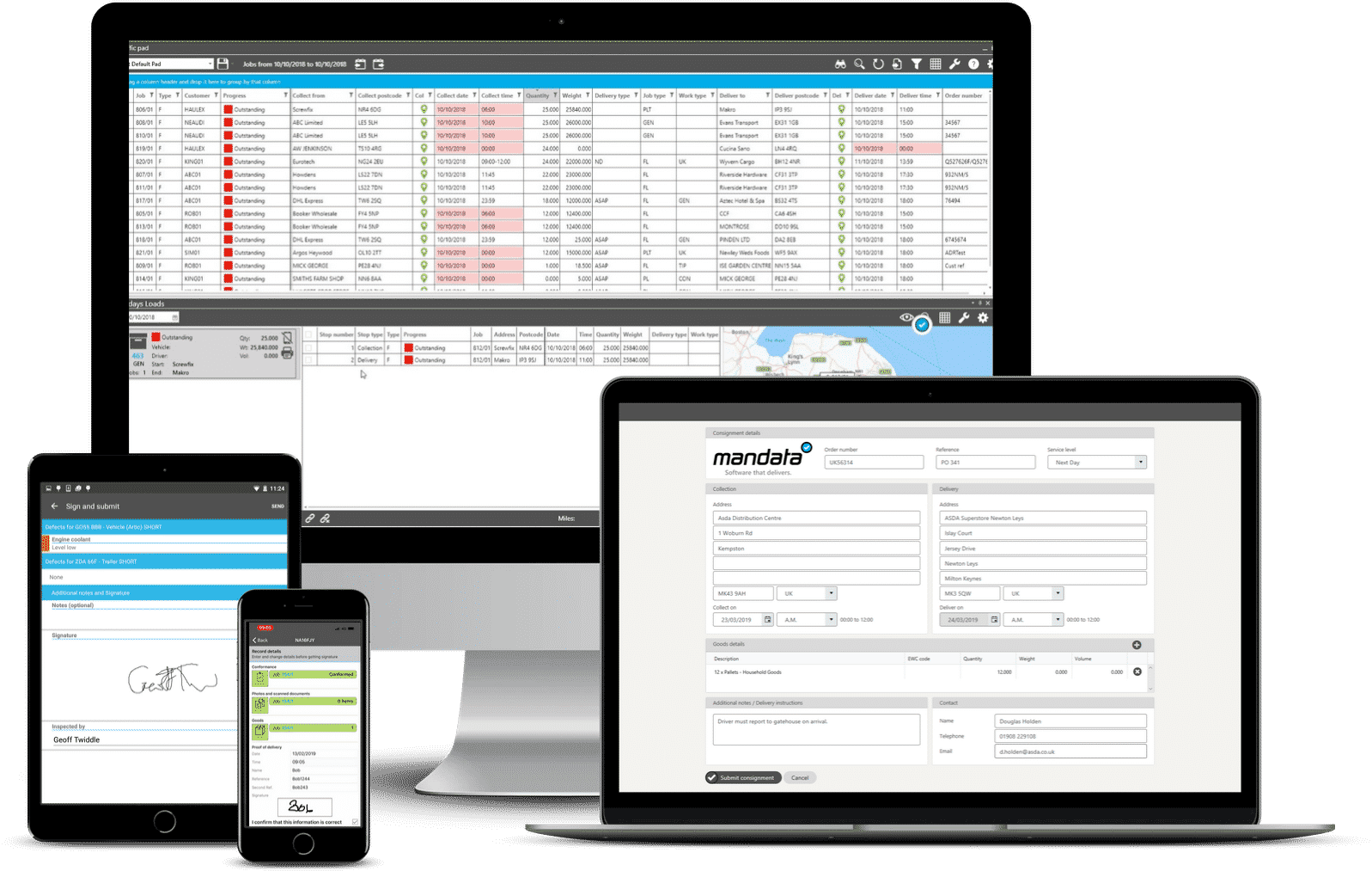 One integrated transport management system from Mandata