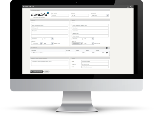 Customer portal for mandata transport management software. TMS for hauliers