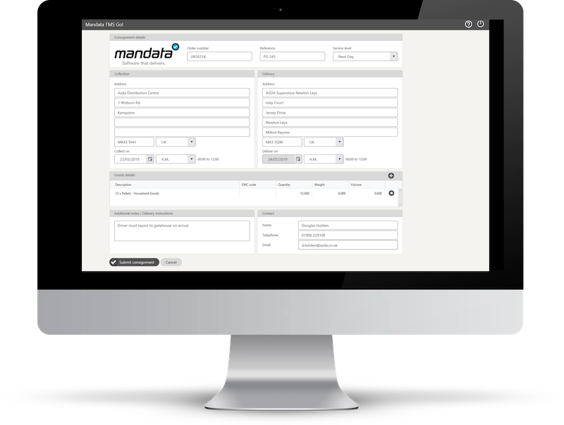 Mandata TMS Go! Cloud TMS Customer Portal for Shippers
