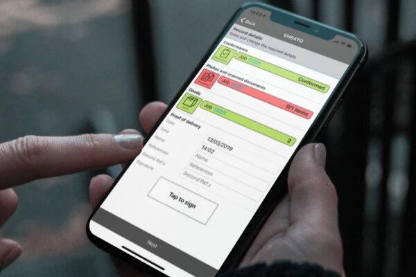 Electronic proof of delivery app integrates with Mandata transport management software. System for hauliers.