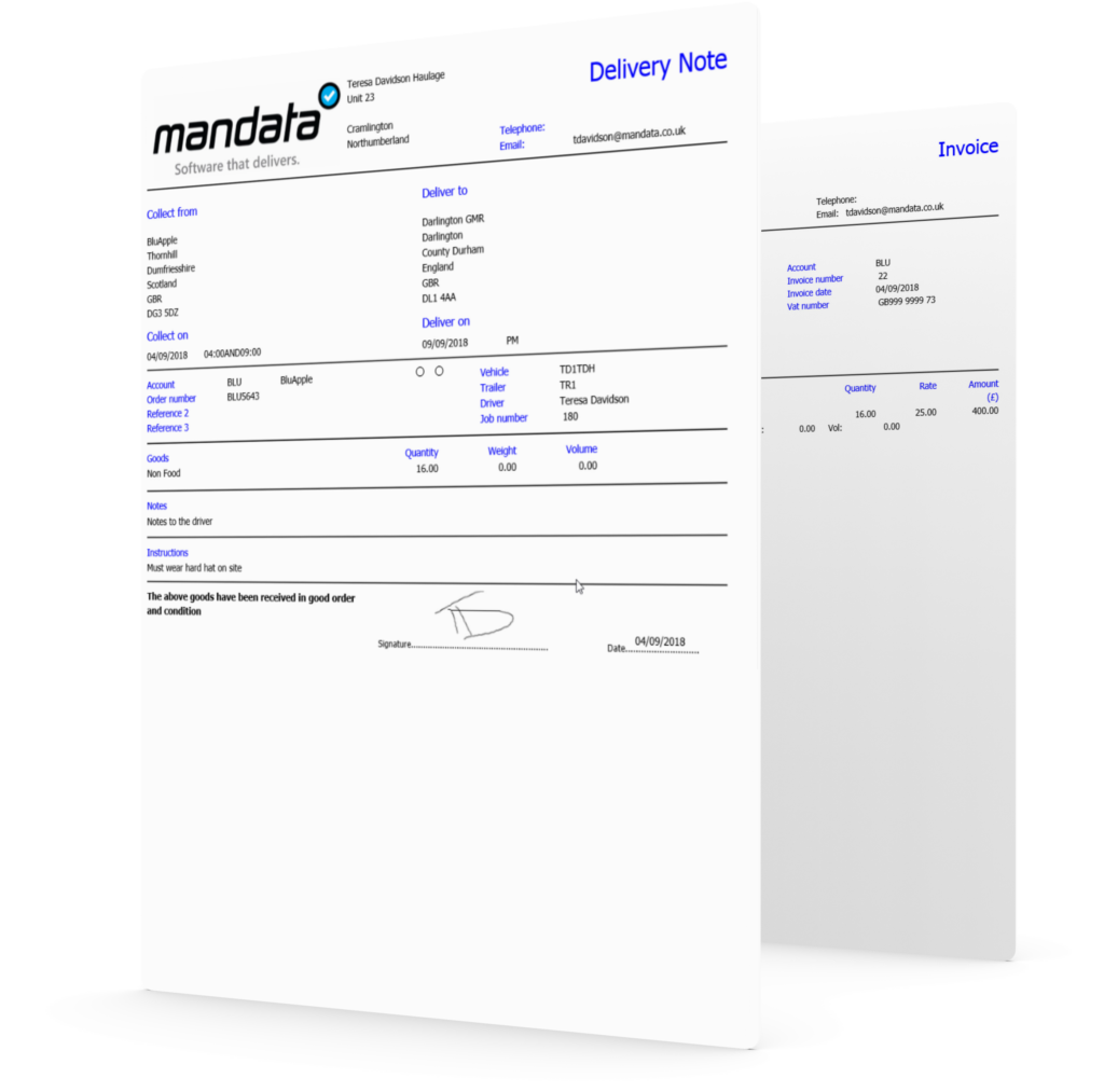 hauliers can email invoices from the TMS with Mandata